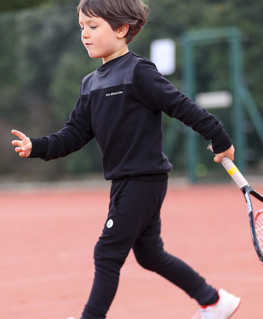jet black boys tennis training top sweatshirt zoe alexander uk