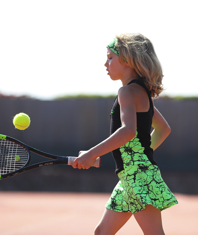 neon green girls tennis outfit zoe alexander