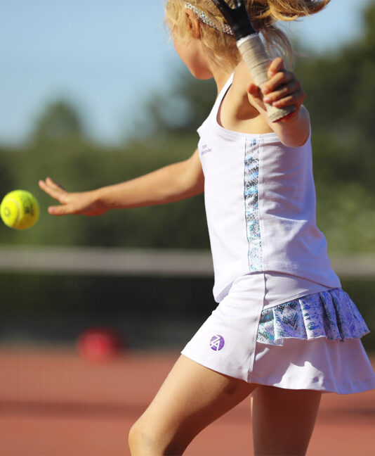 white pearl performance girls tennis skirt by zoe alexander