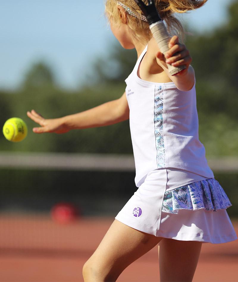 white pearl performance girls tennis skirt by zoe alexander