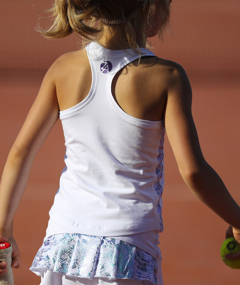 pearlescent white pleated girls tennis skirt and tank top zoe alexander uk