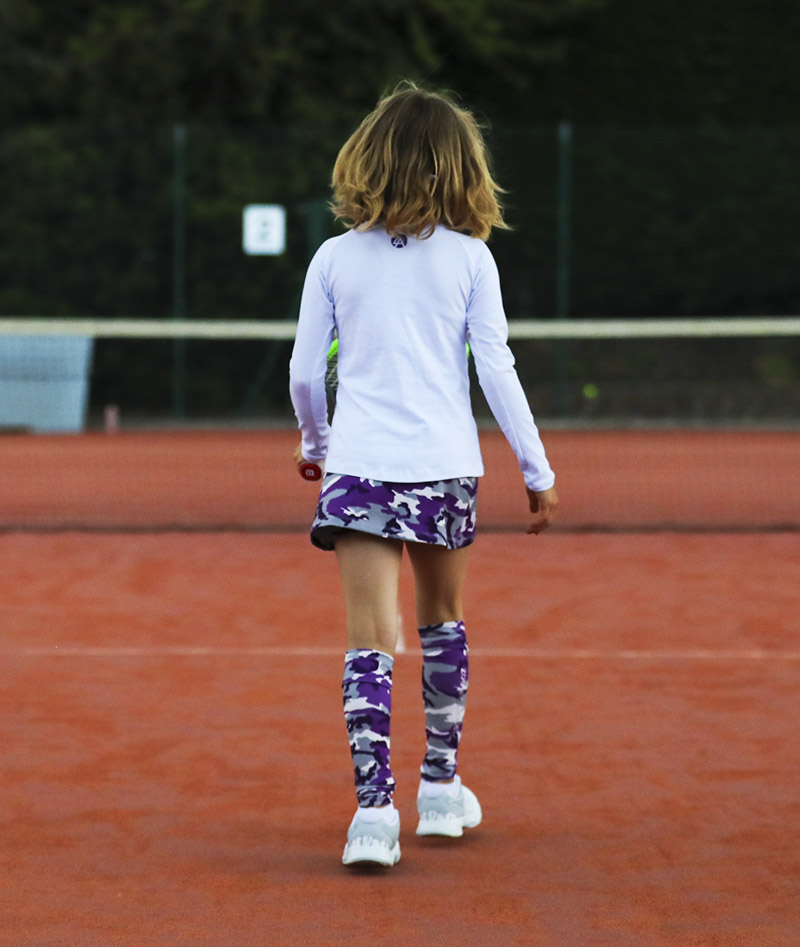 white and camo violet long sleeve training top for girls by zoe alexander uk
