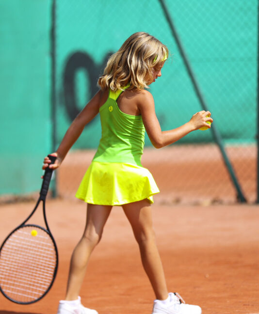 neon green yellow rebecca racerback girls tennis dress zoe alexander uk