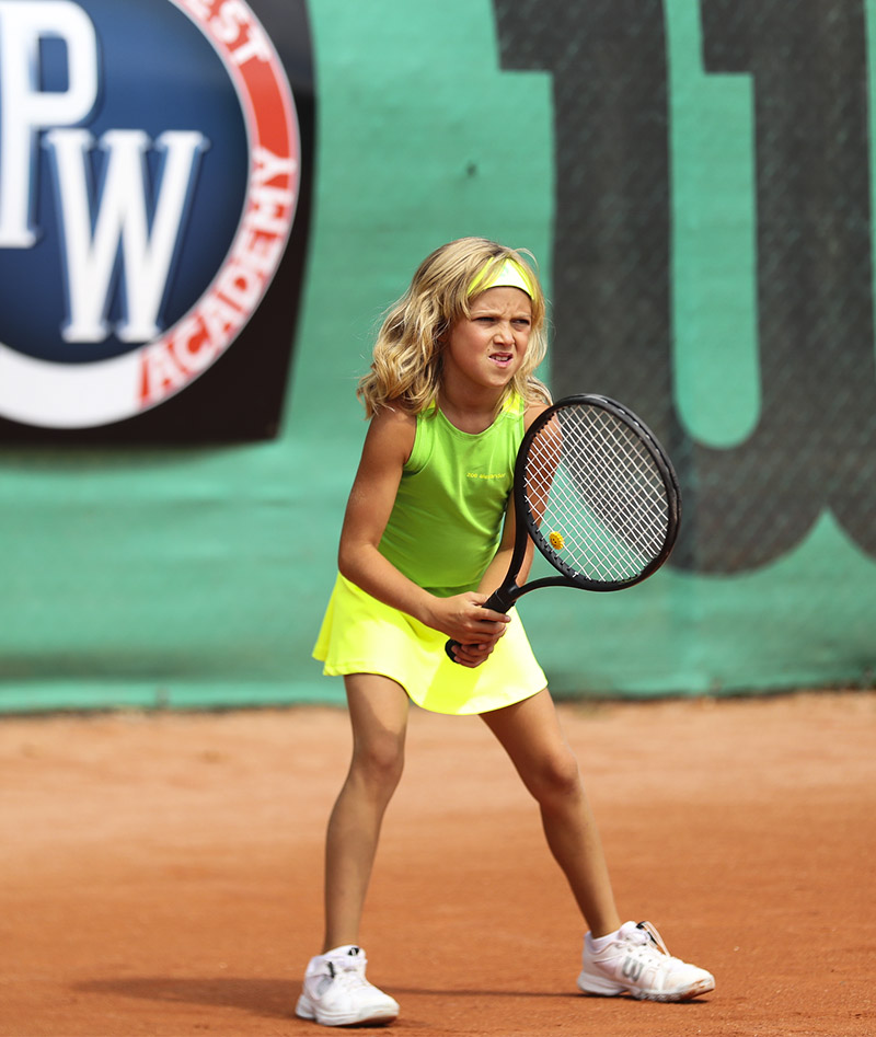 neon green yellow rebecca racerback girls tennis dress zoe alexander uk